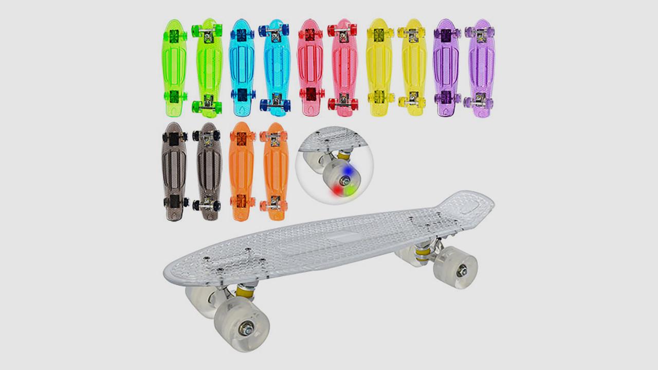 Скейт PROFI пенни с алюминиевой подвеской. Колеса из ПУ - светятся. 4 цвета