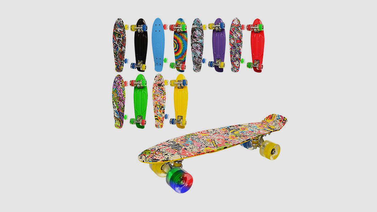 Скейт iTrike пенни с алюминиевой подвеской. Колеса из ПУ. 6 цветов.