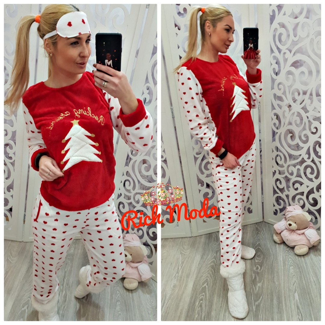 497484966b9d Зимняя женская тёплая пижама Турция с новогодним рисунком — купить ...