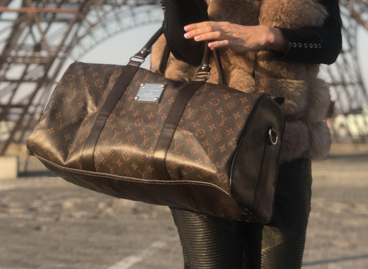 375f2518a97e Стильная дорожная Сумка Louis Vuitton LV Keepal Brown (реплика) спортивная  - Планета здоровья интернет