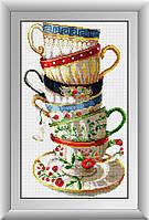 30001 Набор кофейных чашек. Dream Art. Набор алмазной живописи (квадратные, полная)
