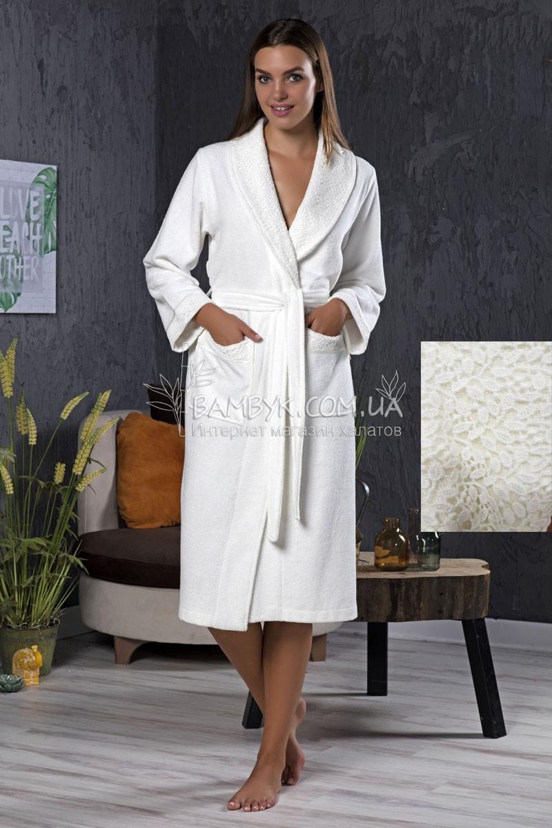 Елітний бамбуковий халат з мереживом Nusa NS 3905