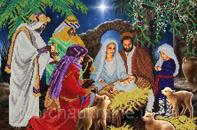 """Схема на ткани для вышивания бисером  """"Рождество"""""""