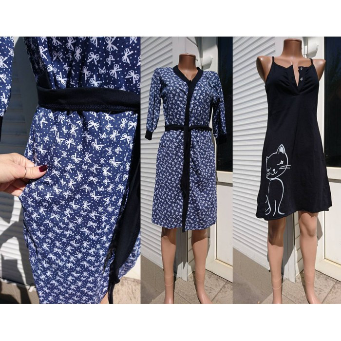 Женский комплект для беременных и кормящих из халата и ночной Бантик  темно-синего цвета 44 bb14b7ea819ed