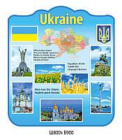 Cтенд для кабинета Английского языка об Украине (голубой цвет)
