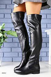 Женские демисезонные кожаные сапоги ботфорты, черные, р.36-40