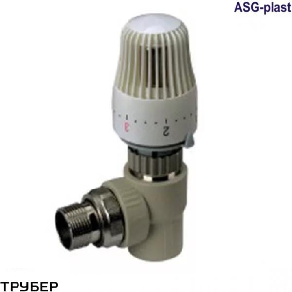 Кран термостатический 25*3/4' угловой полипропилен ASG (без термоголовки)