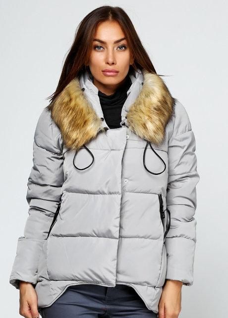 Куртка зимняя женская короткая, серый пуховик  размер 42(XL) CC-6553-75