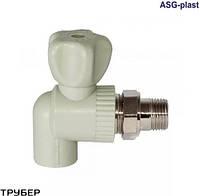 Кран радиаторный 25 угловой без резинки полипропилен ASG