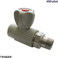 Кран радиаторный 20 прямой с резинкой полипропилен ASG