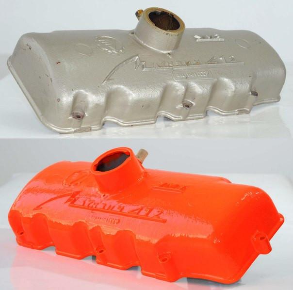 Порошковая покраска крышки двигателя
