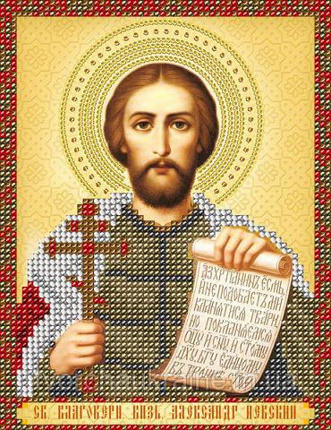 Схема на ткани для вышивания бисером Св. Блгв. Князь Александр Невский.