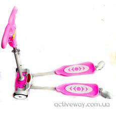 Самокат D001 материал пластик металл цвет розовый синий, фото 3