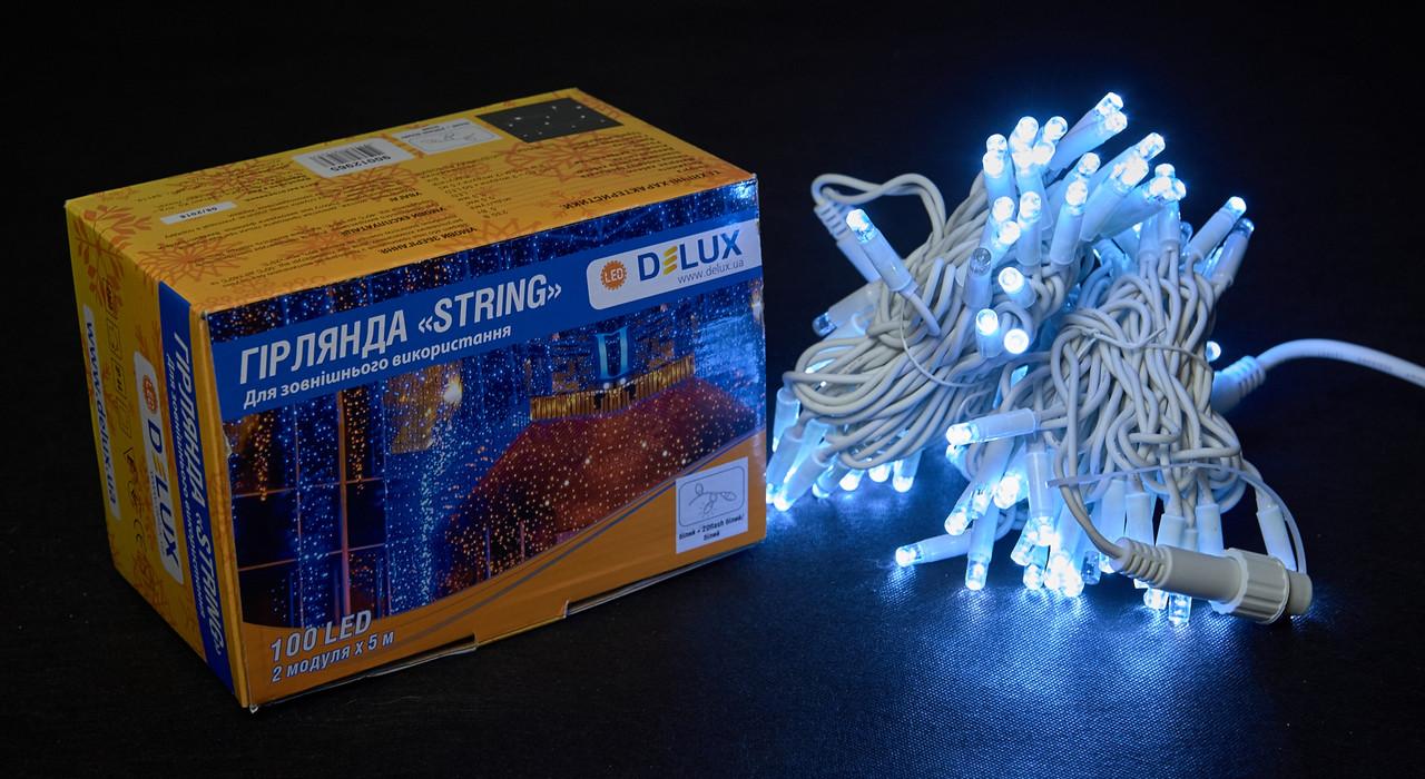 Светодиодная гирлянда нить DELUX String Flash 10м 100 LED белый/белый