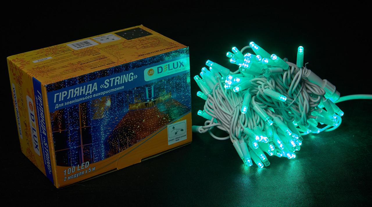 Светодиодная гирлянда нить DELUX String Flash 10м 100 LED зеленый/белый