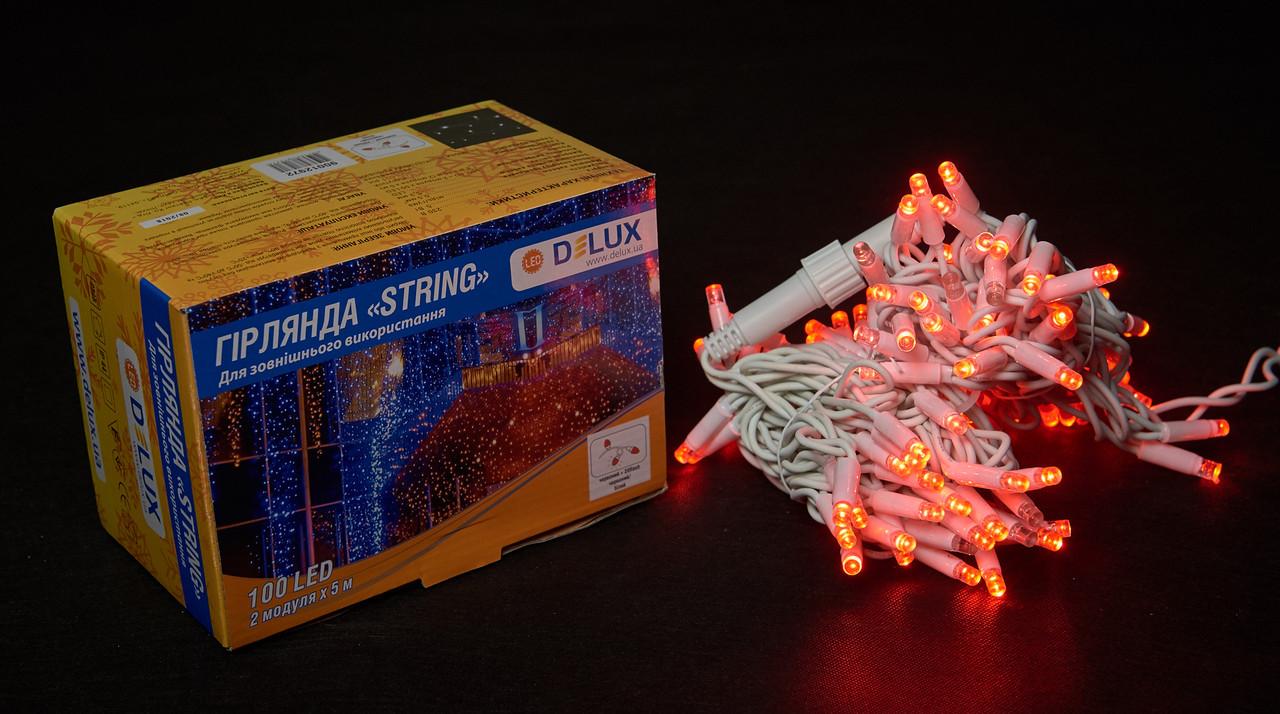 Светодиодная гирлянда нить DELUX String Flash 10м 100 LED красный/белый