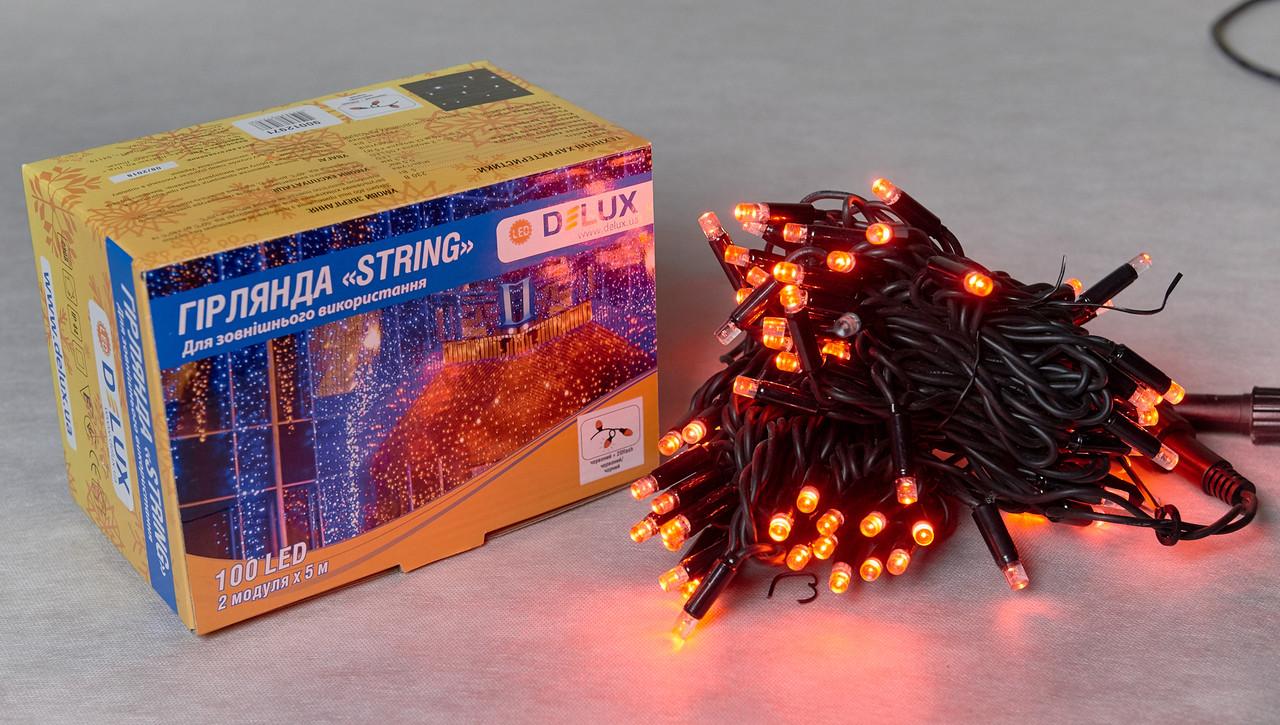 Светодиодная гирлянда нить DELUX String Flash 10м 100 LED красный/черный