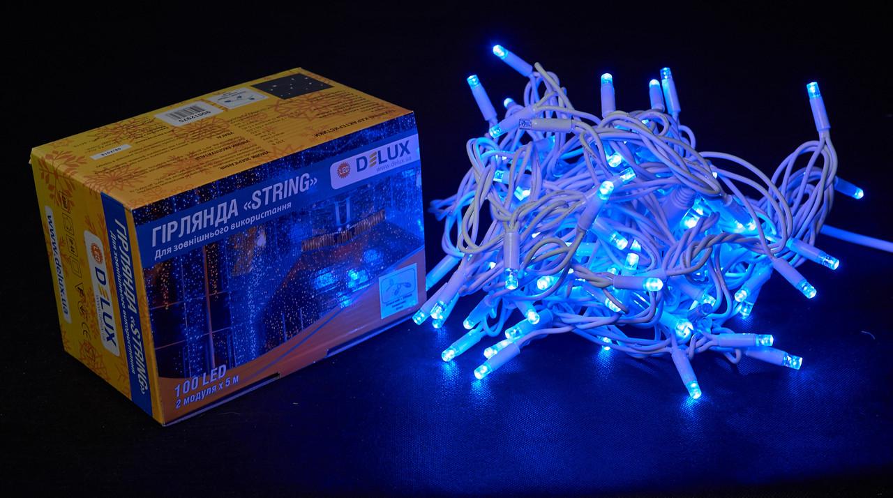 Светодиодная гирлянда нить DELUX String Flash 10м 100 LED синий/белый