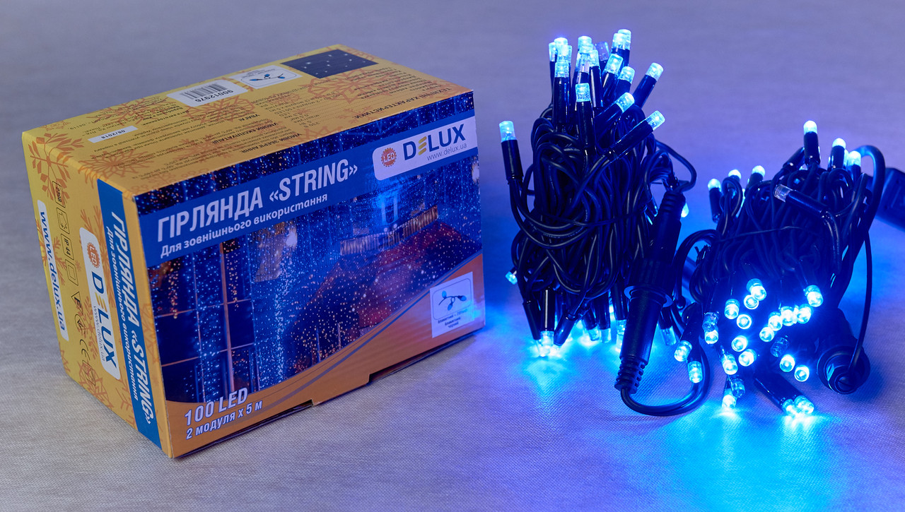 Светодиодная гирлянда нить DELUX String Flash 10м 100 LED синий/черный