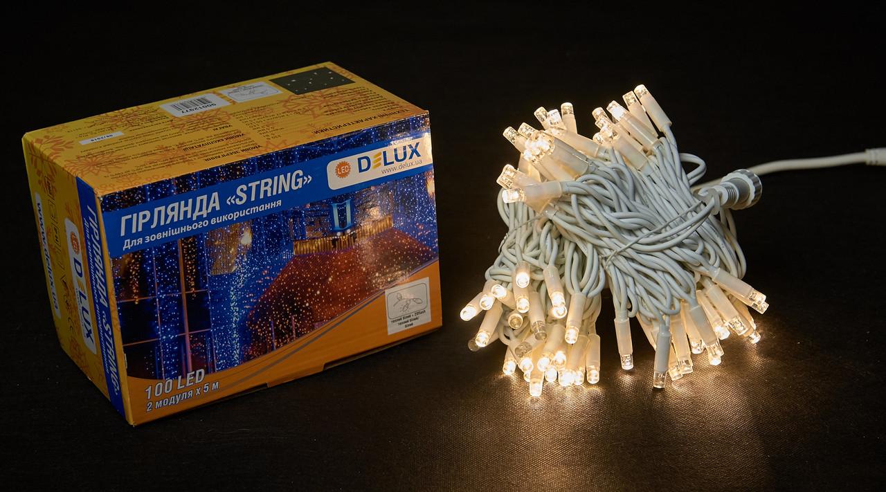 Светодиодная гирлянда нить DELUX String Flash 10м 100 LED теплый белый/белый