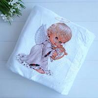 Крижма плед крыжма одеялко на крестины травка Ангел с арфой 100*90