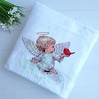 Крижма плед крыжма одеялко на крестины травка Ангел с птичкой 100*90
