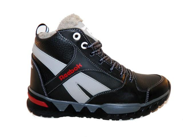 Ботинки подростковые Reebok  ( Реплика) 53черный с серым