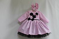 """Нарядное платье на девочку в стиле """"Минни маус"""" с рукавами"""
