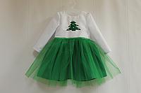 """Повседневно - нарядное платье на девочку """"Зеленая елочка"""" с рукавами"""