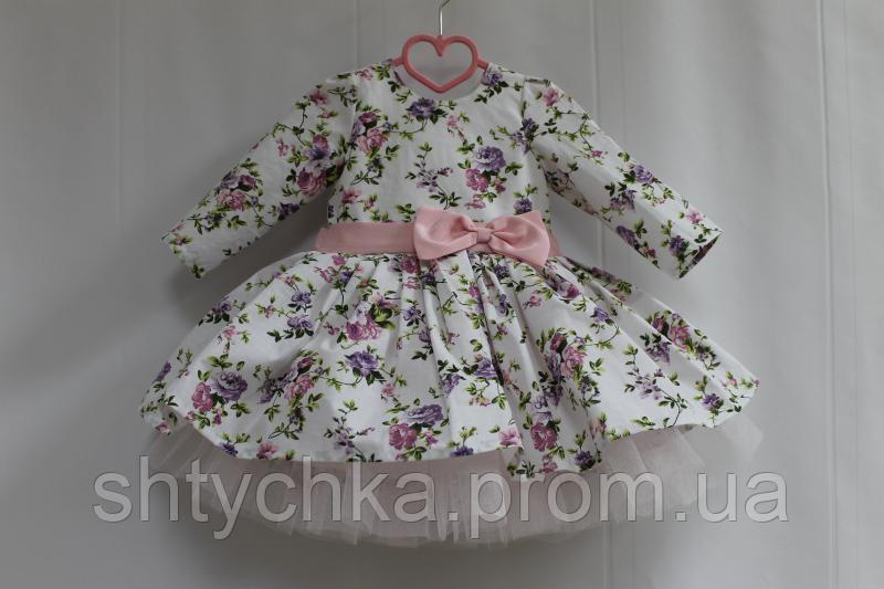 """Нарядное платье на девочку """"Цветочное настроение"""" с пышным розовым подьюпником и рукавами."""