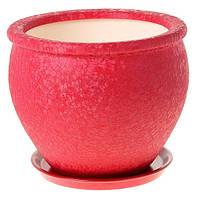 Горшок керамический для пересадки цветов Вьетнам №1 шелк бордо