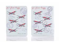 Кожаная обложка на паспорт You + Plane = Happy 156-1552516