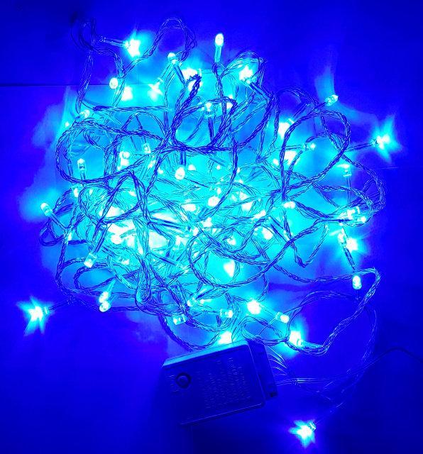 Гирлянда нить светодиодная 100 led, Синий, прозрачный провод, 9м.