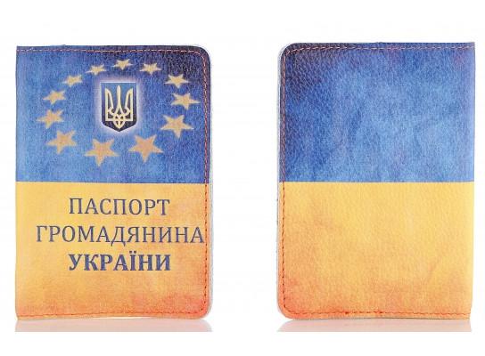 Кожаная обложка на паспорт Флаг Украины 156-15510419