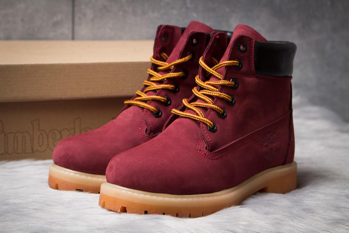 Зимние ботинки  на мехуTimberland 6 Premium Boot, бордовые (30665) размеры в наличии ► [  36 39 40  ]