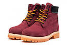 Зимние ботинки  на мехуTimberland 6 Premium Boot, бордовые (30665) размеры в наличии ► [  36 39 40  ], фото 7