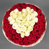 Шикарный букет роз  «Белое сердце - 101 роза», фото 1