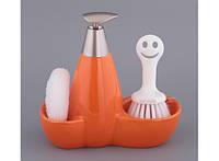 Набор для мыла с губкой и щеткой Оранжевый 424-8715138