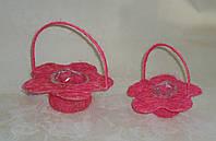 Корзина из сизали цветок розовый большая