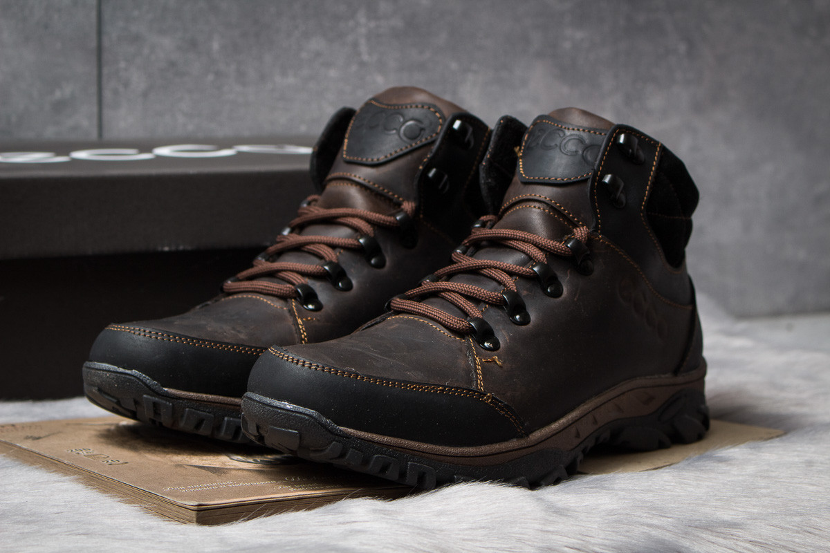Зимние кроссовки  на мехуEcco Techmotion, коричневые (30711) размеры в наличии ► [  42 43 45  ]