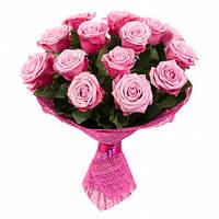 Букет ярко розовых роз «Дип Перпл - 15 роз»