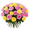 Яркий букет из роз двухцветный  «Хорошее настроение - 35 роз»