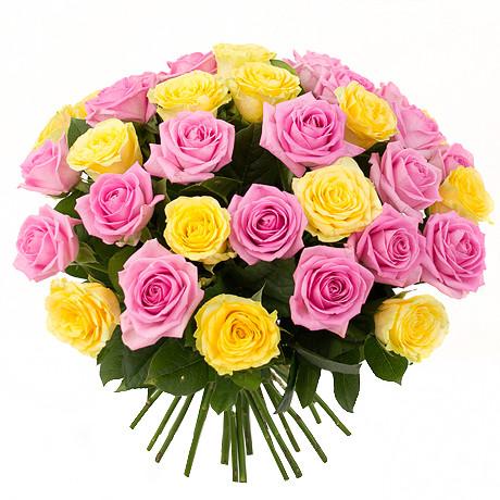 Яскравий букет з троянд двоколірний «Гарний настрій - 35 троянд»