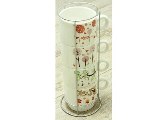 Набор чайный на 4 персоны на подставке Сезоны 88-8718471