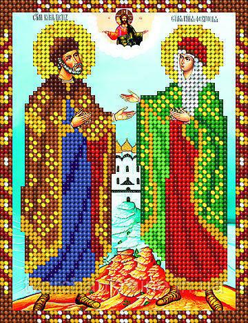 Схема на ткани для вышивания бисером Святые Пётр и Феврония. А-строчка.