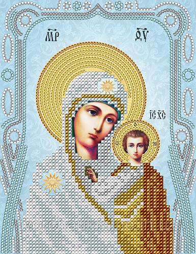 Схема на ткани для вышивания бисером Казанская икона Божией . А-строчка.