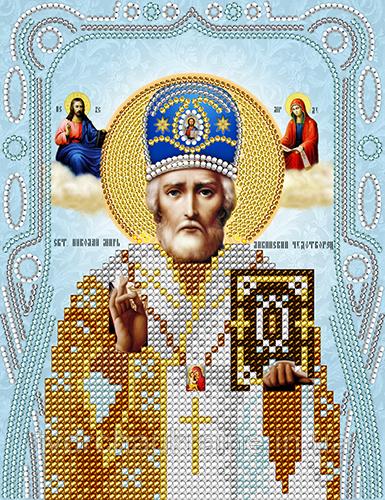 Схема на ткани для вышивания бисером Святой Николай Чудотворец . А-строчка.