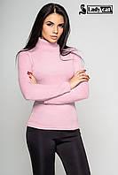 Теплый женский гольф нежно розового цвета с трикотажной ткани Ангора АРКТИКА