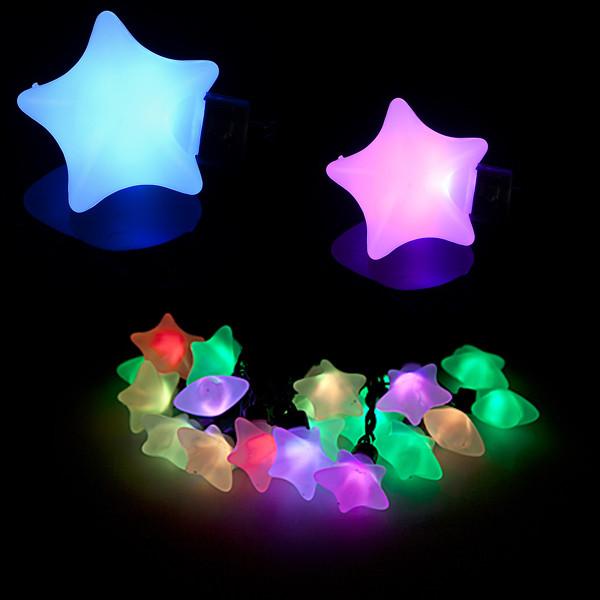 Гирлянда светодиодная большие звезды 20 LED, мультицветная, белый пластик