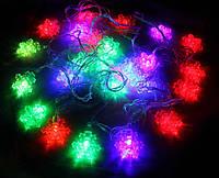 Гирлянда светодиодная снежинки 28 LED, мультицветная